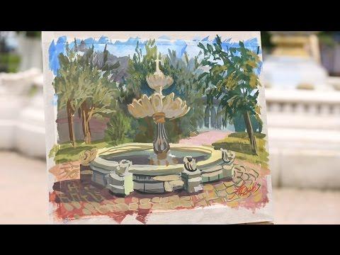 «Уроки рисования». Этюд фонтана гуашью (3.06.2016)