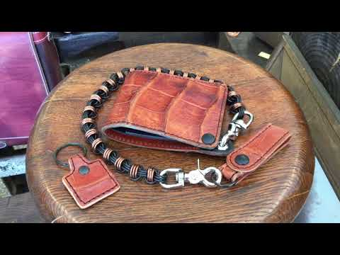 Burnt Orange Alligator Chain Wallet by Anvil Customs