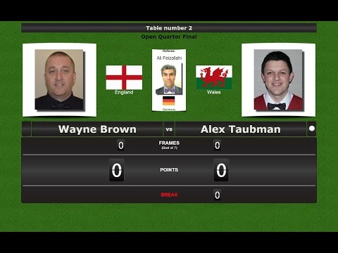 Snooker Open 1/4 Final : Wayne Brown vs Alex Taubman