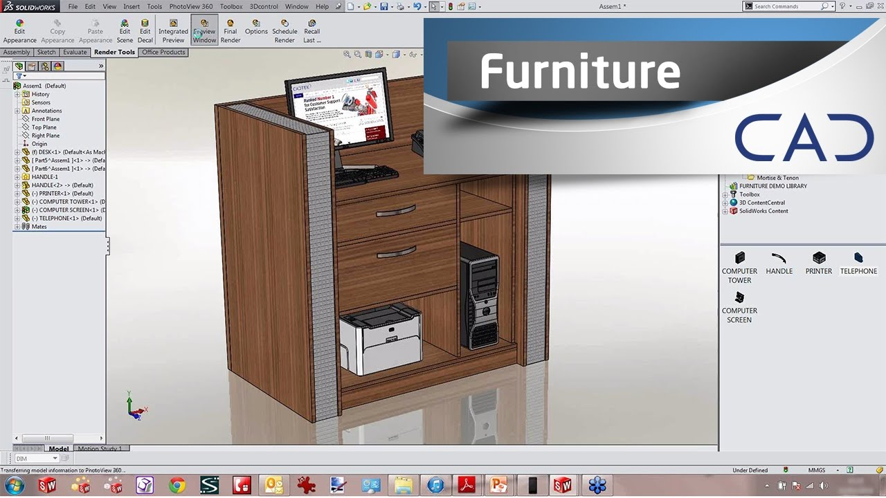Designing furniture in solidworks youtube for Room furniture layout software