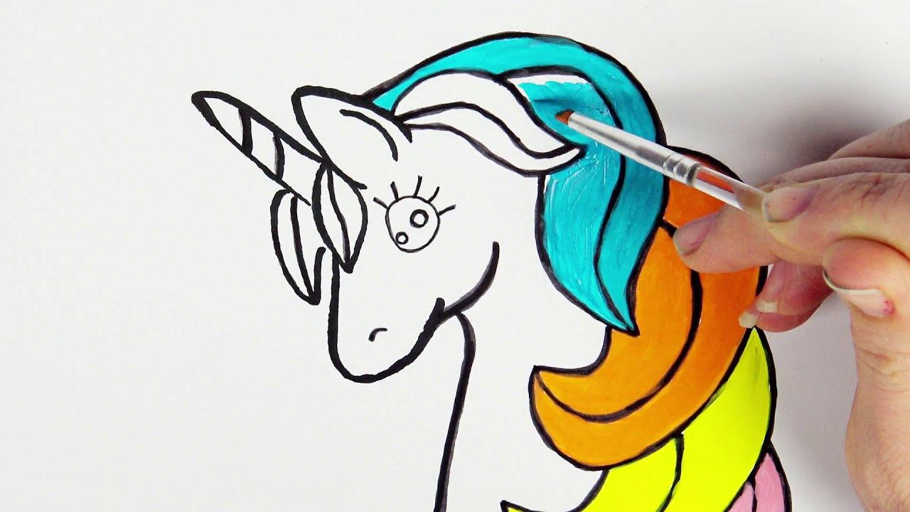 draw & color unicorn rainbow