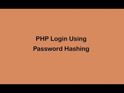 PHP Login With Password Hashing