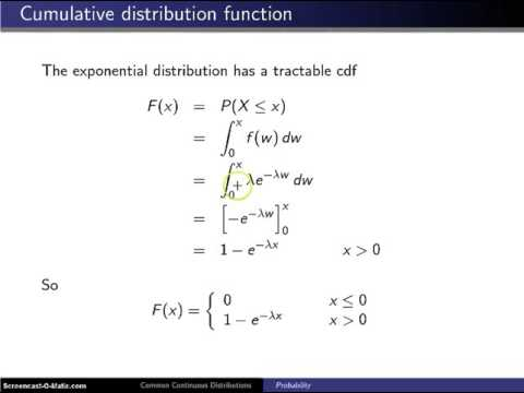 Exponential distribution cumulative distribution function