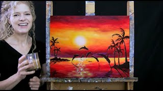 Learn How to Paint SUNSET DOLPHIN DIVE with Acrylic - Fun Paint & Sip - Step by Step Tutorial