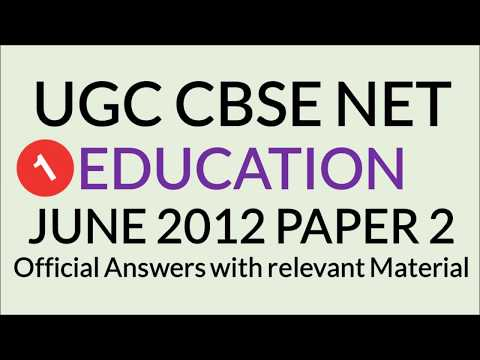 UGC NET Education June 2012 Paper 2 Question paper with Official answers