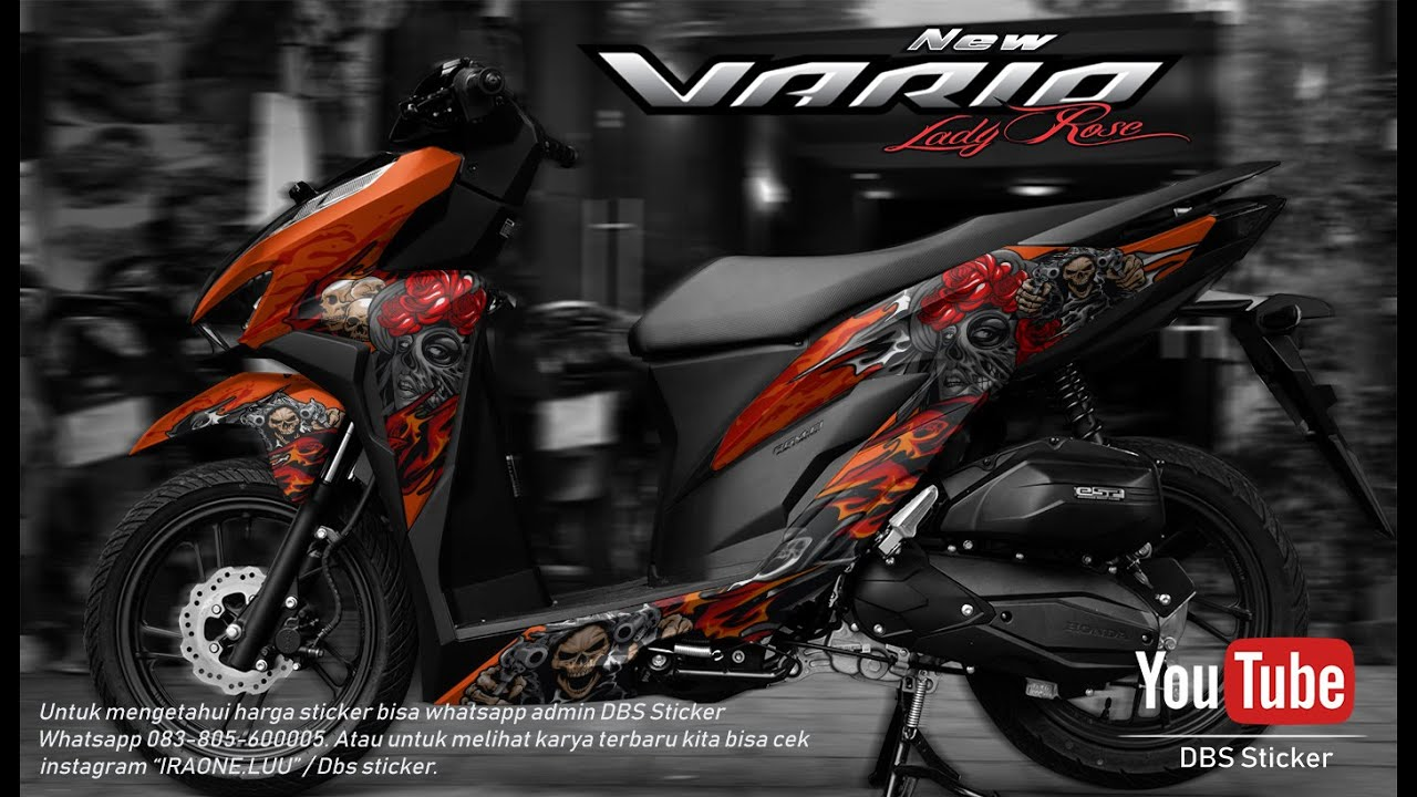 Modifikasi new honda vario 150 sticker lady rose vector coreldraw x9 13