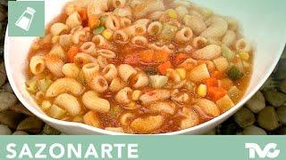 Receta para preparar sopa de coditos con verduras
