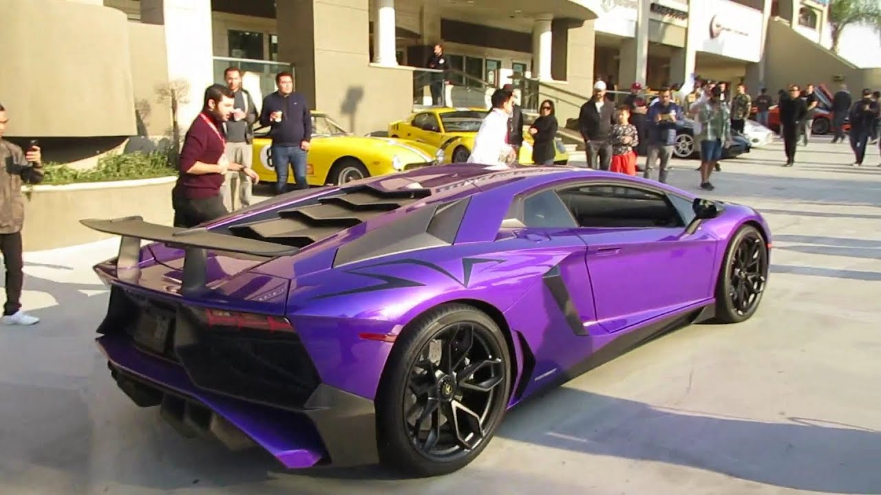 Purple Lamborghini Aventador Sv W Engine Start Rev Sound Youtube
