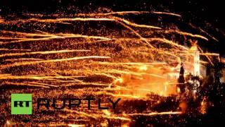 Greece: Brilliant Easter firework 'war' lights up the sky