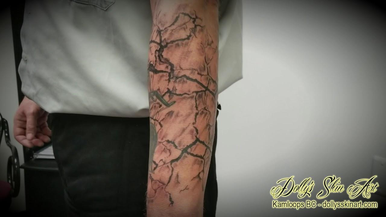 Jordan\u0027s Scorpion Half Sleeve Desert Background Tattoo