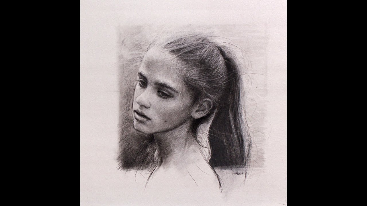 Portrait sketch in charcoal - YouTube