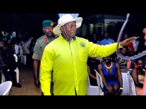 Teacher Mpamire acts Ugandan President Y.K.Museveni.