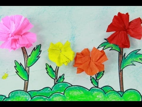 art and craft for children - how to make flowers with paper - art and craft