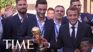 Emmanuel Macron Celebrating France