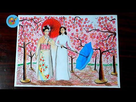 vẽ tranh đề tài lễ hội lớp 9 đơn giản - Vẽ tranh đề tài lễ hội - lễ hội hoa anh đào - Cherry Blossom Festival - Hungart