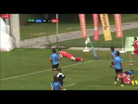 Badri Liparteliani and Revaz Jinchvelashvili combine to create try for Georgia U20 vs Uruguay