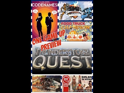 One Game Up (6) Codenames, Rising Sun, ThunderStone Quest, FoodTruck Champion, Heavy Hitters