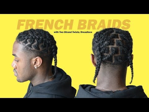 how-to-french-braid-(easy-xxxtentacion-hairstyle)-two-strand-twist/dreadlock- -black-men-hairstyles