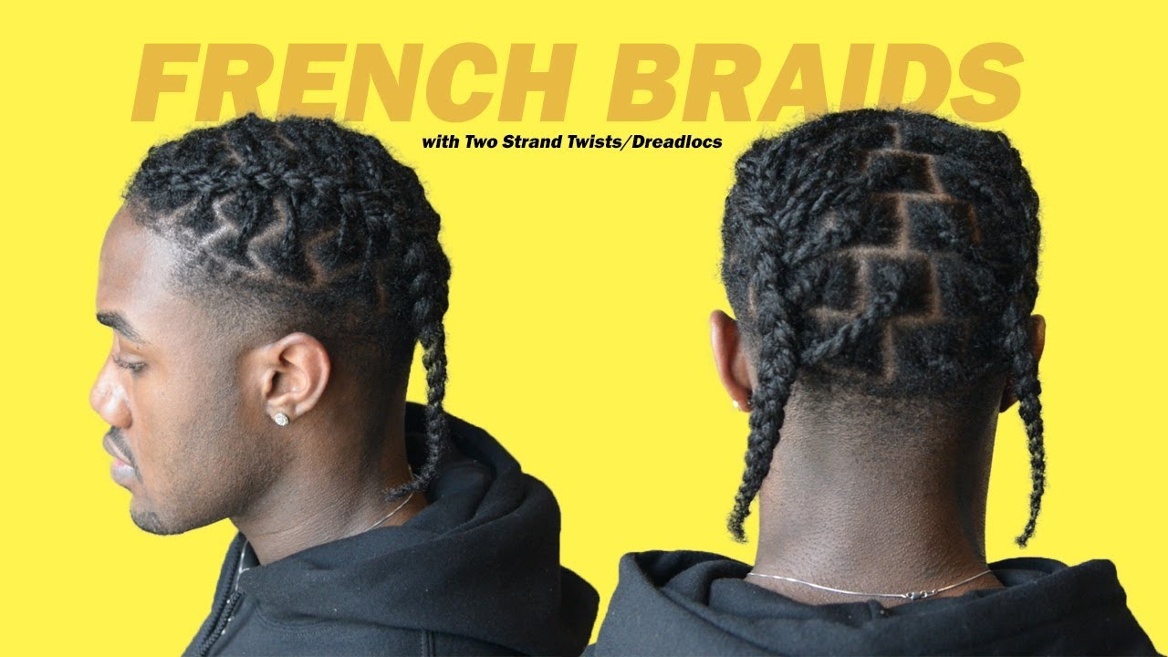 how to french braid (easy xxxtentacion hairstyle) two strand twist/dreadlock | black men hairstyles