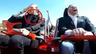 Paloma le cae en la cara en él Ferrari land | Paloma falls in the face on the roller coaster