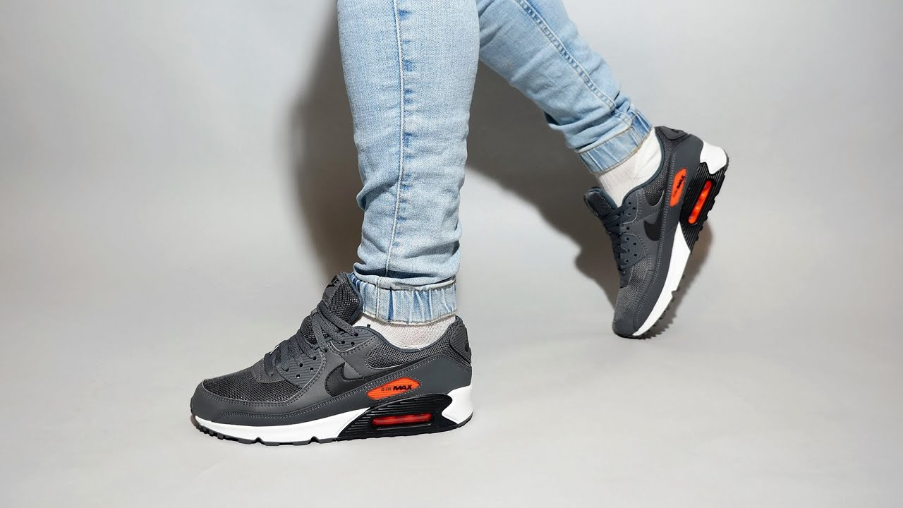 Nike Air Max 90 Iron Grey Black Total Orange CW7481 001 on feet