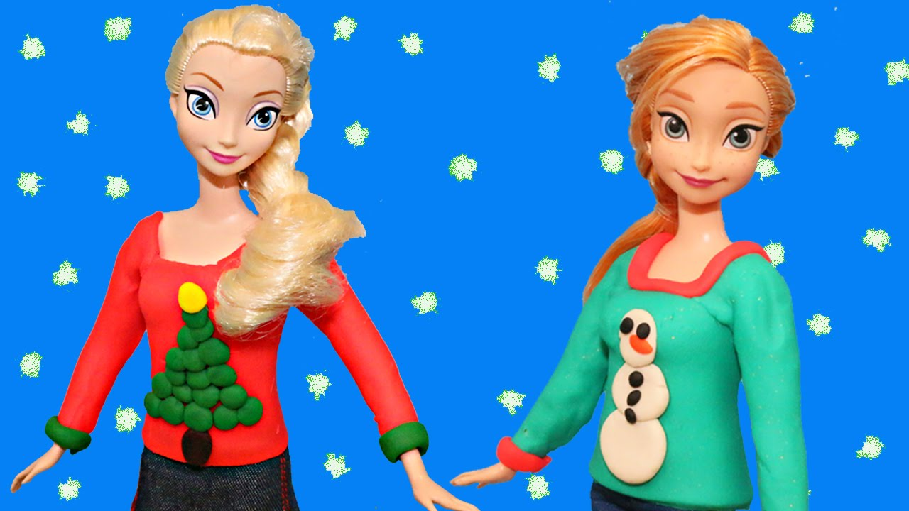 Frozen Play Doh Elsa, Anna & Barbie Doll Ugly Christmas Sweaters ...