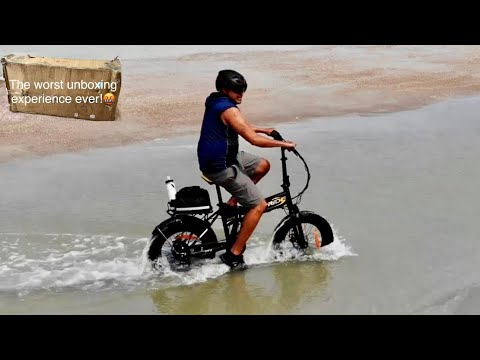 """PRIDE 20"""" Fat Tire Electric Foldable Bicycle!Worst Unboxing:Riding it on soft sand and saltwater"""