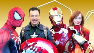 Captain America VS Iron Man, Spider-Man & Iron MJ at FLORIDA SUPERCON! Real Life Marvel Parody
