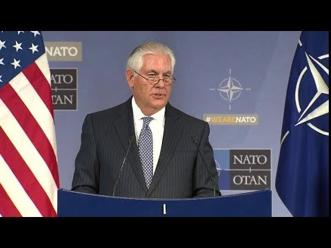 Secretary Tillerson Holds a Press Conference at NATO