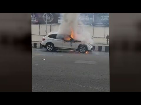 BMW Catches Fire In Jammu