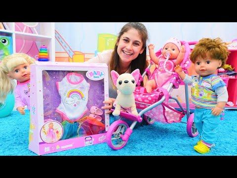 Ayşe ve Gül'e Mert ile kardeşi Naz geliyor! Baby Born oyuncak bebek bakma oyunları