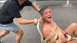 親父を裸にして台車に乗せて大阪の街を走ってみた。