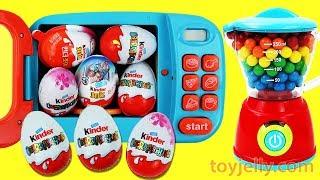 Super KINDER JOY Chocolate Surprise Egg Magical BubbleGum Microwave & Blender baby Toys Fun for Kids