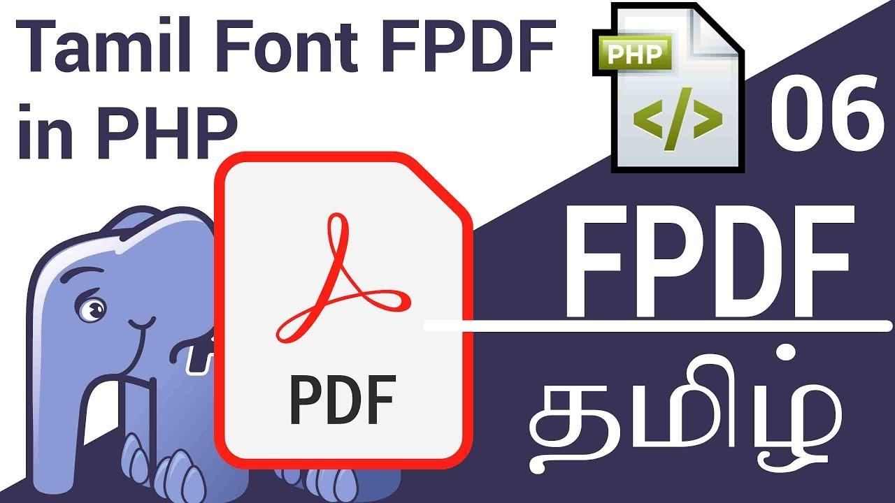 Tamil Font in FPDF in PHP in Tamil