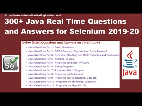 Java Interview Questions and Answers | Java for Selenium | 300+ Java Questions and Answers 2020