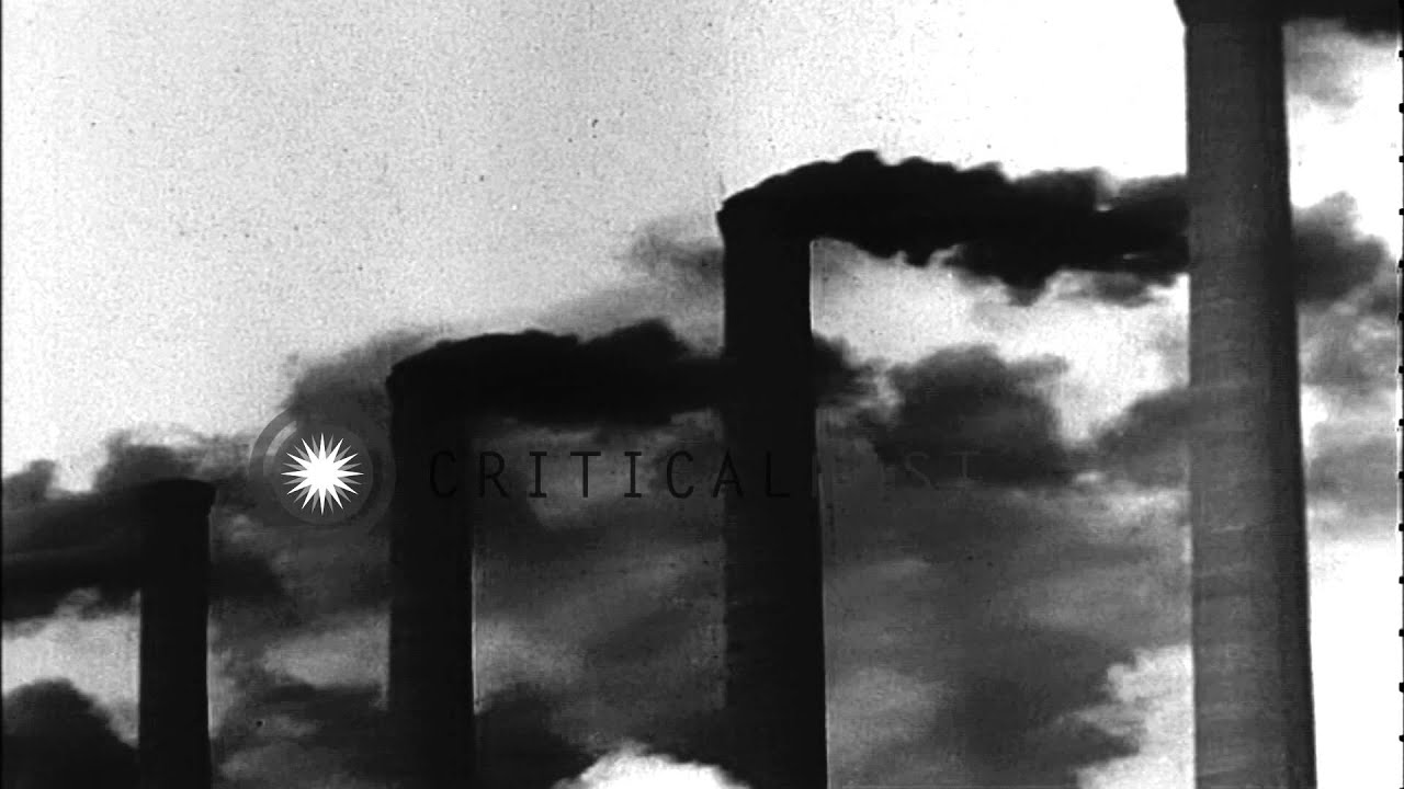 Steel Mill and Town Smoke ash soot fumes dirt molten