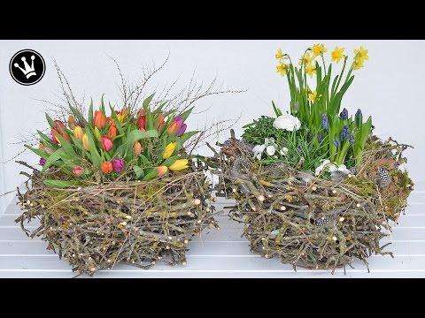 DIY - Frühlingsdeko  selber machen I XXL-Nest aus Zweigen I Deko mit Frühlingsblumen