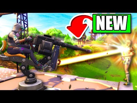 Fortnite *NEW* Mounted Turret Gameplay (Fortnite: Battle Royale Update)