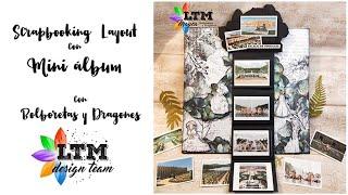 Scrapbooking Layout con MINI ÁLBUM con Bolboretas y Dragones