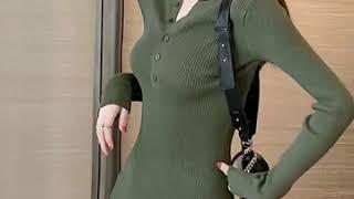 여성 니트 섹시 원피스 홀복 클럽의상 골지니트 미니원피…