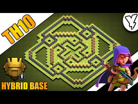 INSANE TOWN HALL 10 TROPHY/FARMING BASE 2019!! TH10 HYBRID FARM BASE 100% TESTED WITH PROOF - COC