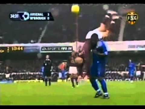 Yakubu prevents Ljungberg from landing on his head