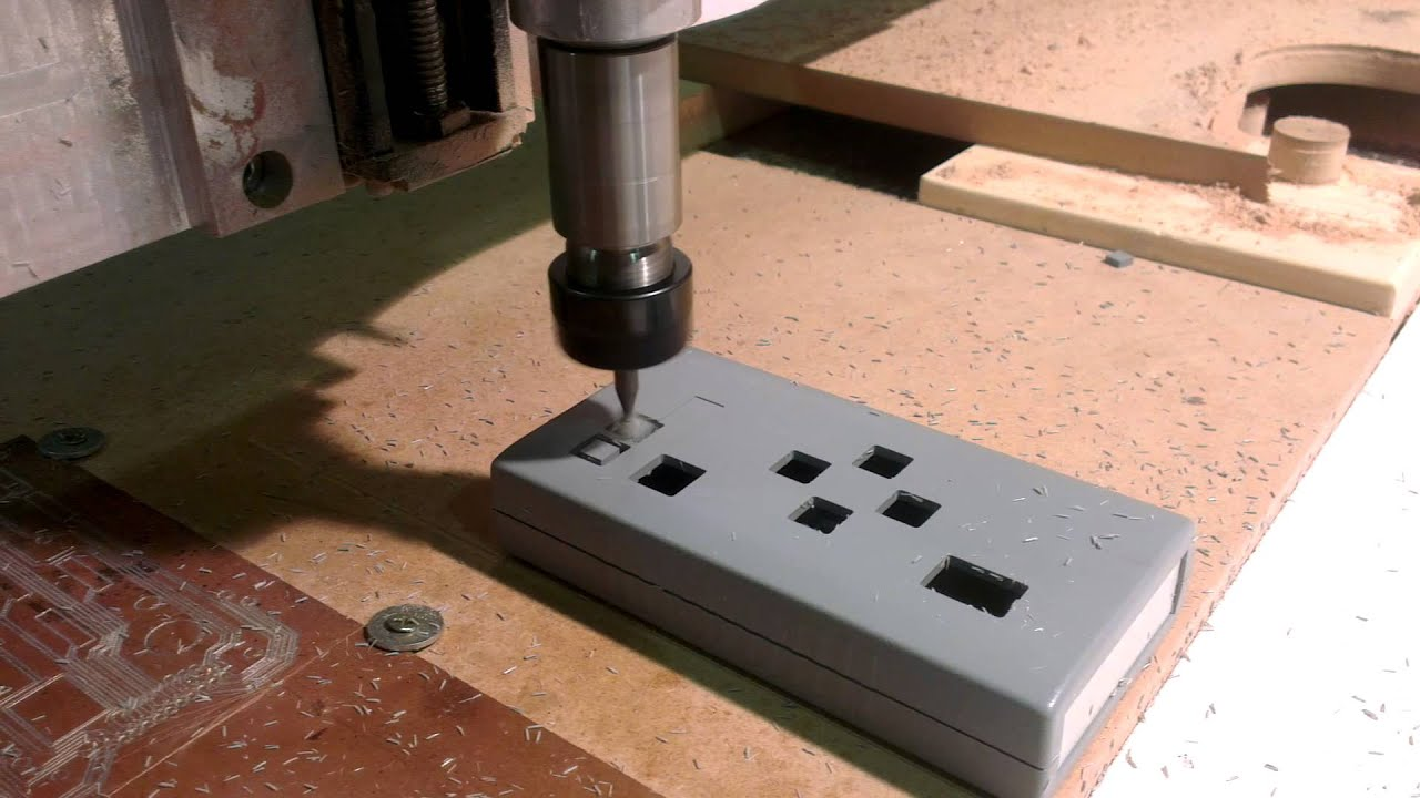 Milling rectangular holes in plastic material - YouTube