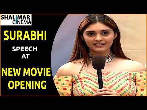Surabhi Speech At New Movie Opening || Allu Sirish,Surabhi,Seerath Kapoor, || Shalimarcinema