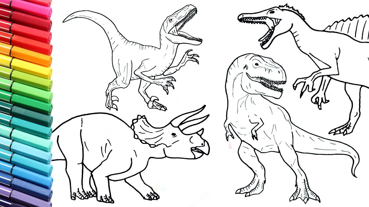 Drawing And Coloring Dinosaur Collection 2 How To Draw And Color