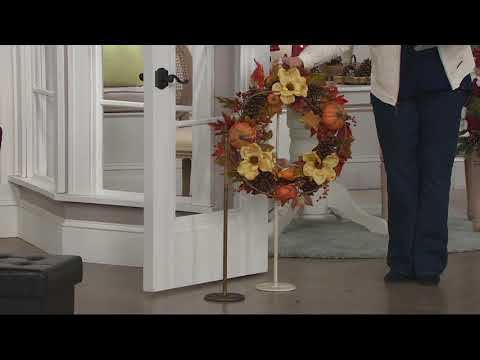 Telescoping Metal Wreath Stand with Decorative Cast Iron Base on QVC