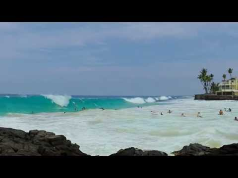 5 -09-15 Beach Slamming Waves- Kailua Kona, Hawaii