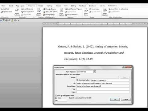 How To Enter A Journal Article Into Microsoft Word's References Function