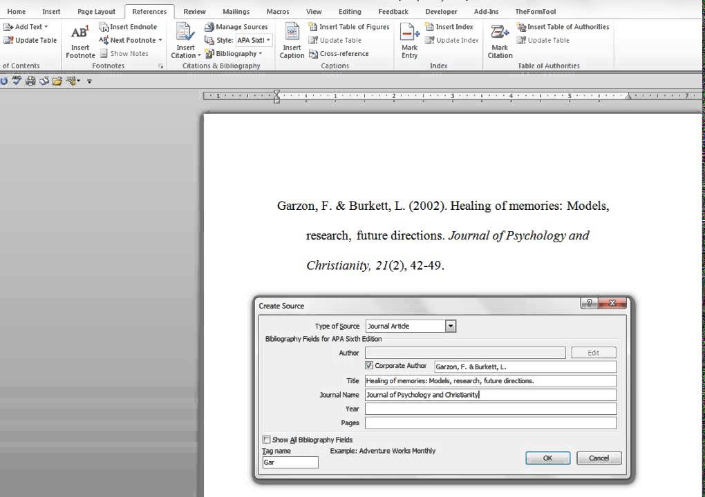 How to Enter a Journal Article Into Microsoft Word\u0027s References