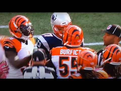 Gronk gets in Burfict's face.  Are you mad, Bro?